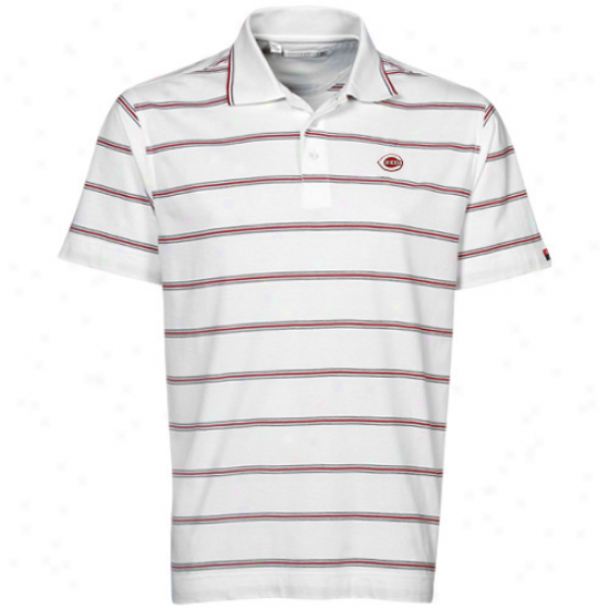 Cutter & Bucck Cincinnati Reds White Griffin Bay Striped Poko
