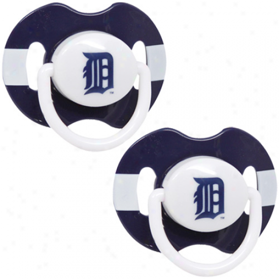Detroit Tigers Navy Blue-white Striped 2-pack Teaam Logo Pacifiers