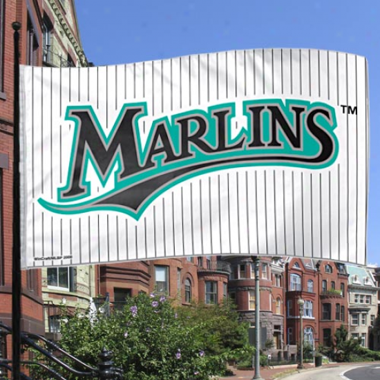 Florida Marlins 3' X 5' White-pinstrie Flag