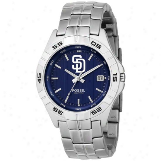 Fossil San Diego Padres Stainless Steel Analog Mlb Team Logk Watch