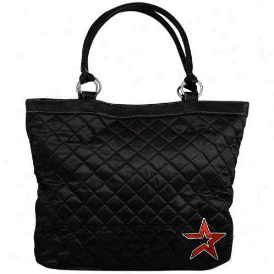 Houston Astros Ladies Black Quilted Tote Bag