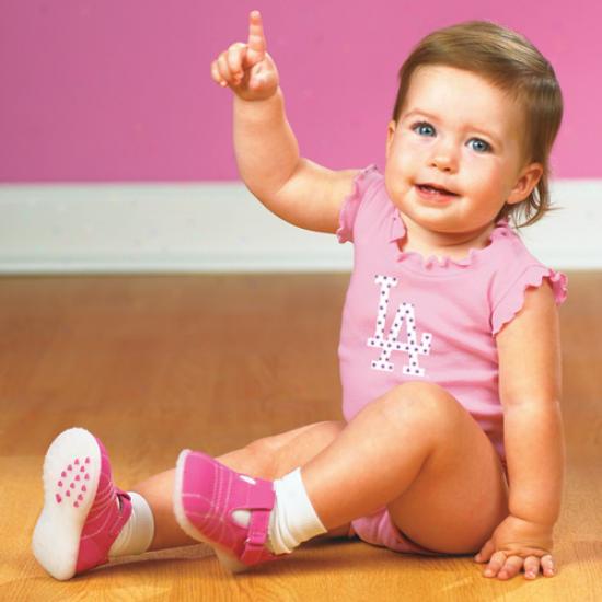 L.a. Dodgers Infant Girls Pink Ruffle Logo Creeper