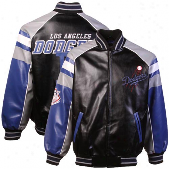 L.a. Dodgers Youth Dark Pleather Ful Zip Jacket