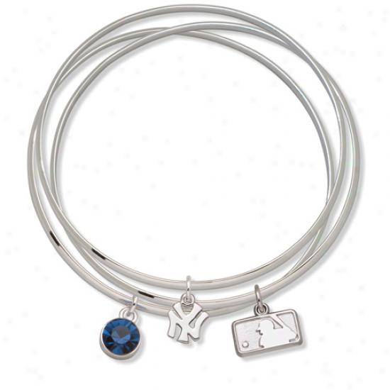 Logo Art New York Yankees Ladies Spirit Crystal Bangle Bracelet Set