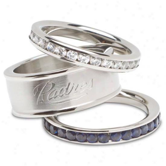 Logo Art San Diego Padres Ladi3s Spirit Crystal Bangle Bracelet Set