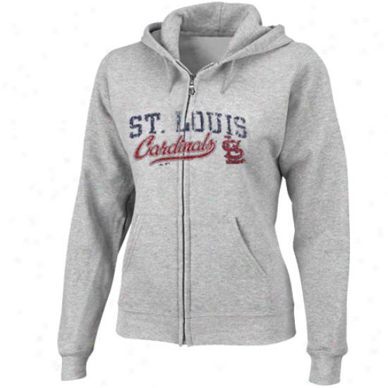 Magestic St. Louis Cardinals Ladies Ash Beauty Full Zip Hoodie Sweatshirt