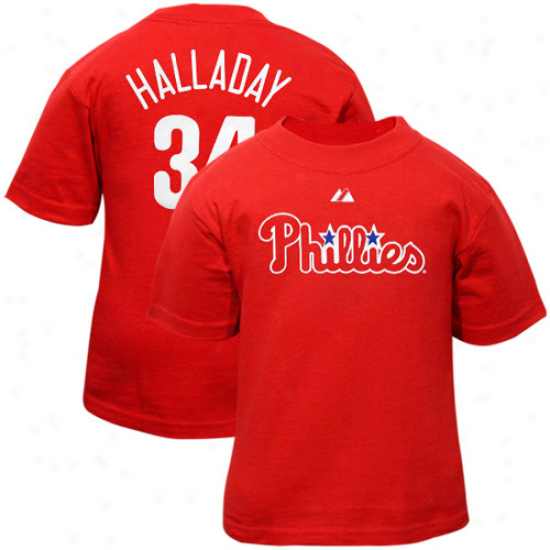 Majestic #34 Roy Halladay Philadelphia Phillies Infant Player Name & Number T-shirt - Red