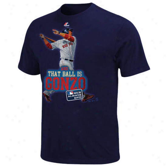 Majestic Adrian Gonzalez Boston Red Sox #28 And That Missile  Is Gonzo T-shirt - Navy Blue