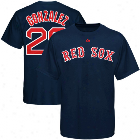 Majestic Adrian Gonzalez Boston Red Sox #28 Player T-shirt - Navy Blue