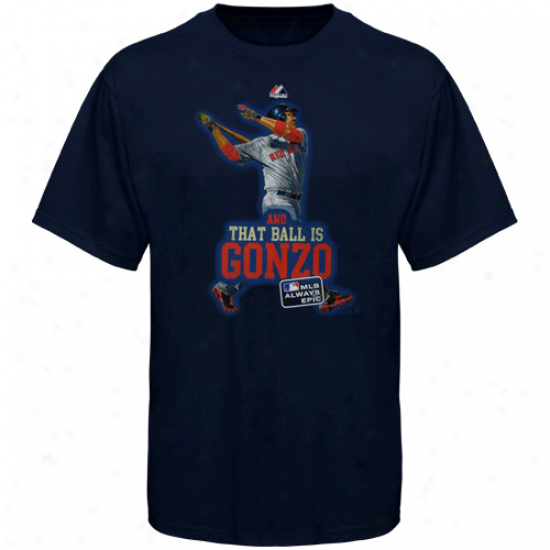Majestic Adrian Gonzalez Boston Red Sox #28 Youth And That Ball Is Gonzo T-shirt - Navy Azure