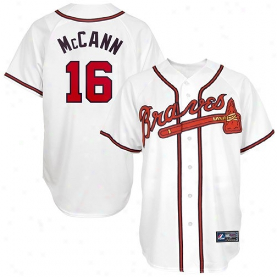 Majestic Atlanta Braves #16 Brian Mccann White Replica Baseball Jersey