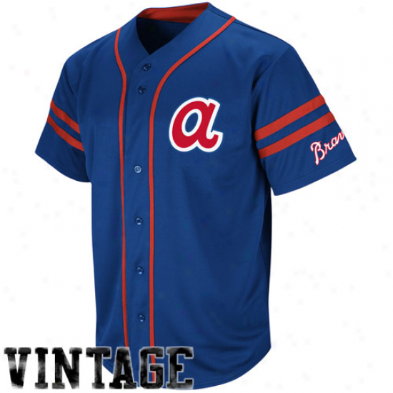 Majestic Atlanta Braves Cooperstown Throwback Heaer Jersey - Ships of war Blue