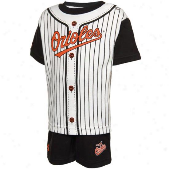 Majestic Baltimore Orioles Infant Black Pinstripe 2-piece Uniform Short Set