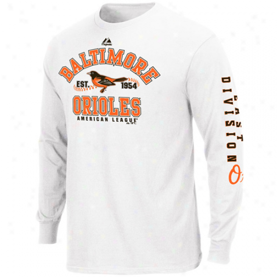 Majestic Baltimore Orioles White Dial It Up Long Sleeve T-shirt
