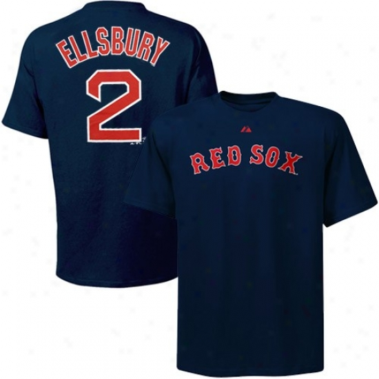Majestic Boston Red Sox #2 Jacoby Ellsbury Youth Red-navy Blue Layered Player T-shirt