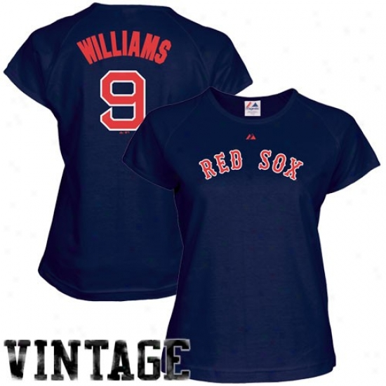 Majestic Boston Red Sox #9 Ted Williams Ladies Navy Blue Cooperstown Player T-shirt