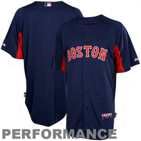 Majestic Boston Red Sox Bat5ing Custom Performance Jersey - Navy Blue-red