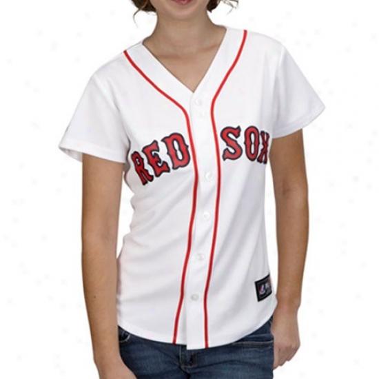 Majestic Boston Red Sox Ladies White Replica Baseball Jersey