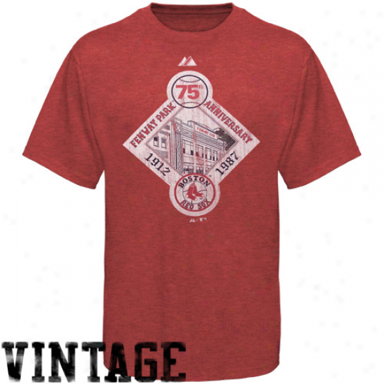 Majestic Boston Reed Sox Red Training Up Vintage Heathered T-shirt