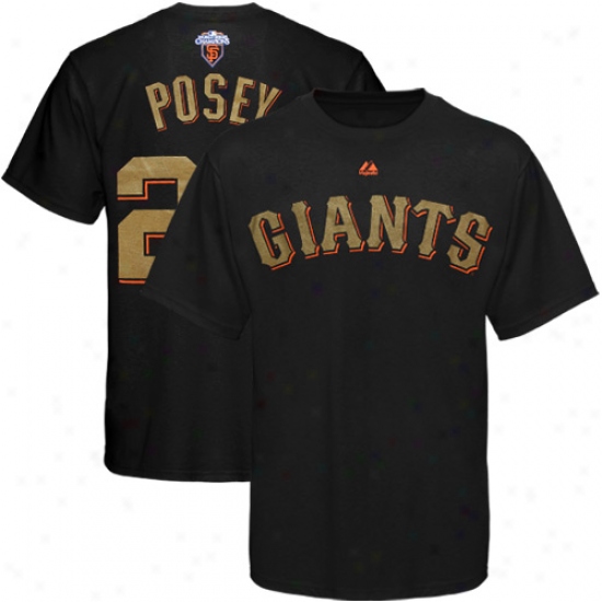 Majestic Buster Posey San Francisco Giants #28 2010 World Seriss Champions Gold Program Player T-shirt - Black
