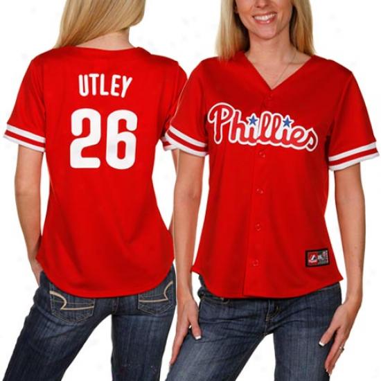 Majestic Chase Utley Philadelphia Philiies Women's Replica Jersey - Red