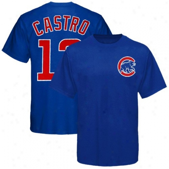 Majestic Chicago Cubs #13 Starlib Castro Youth Kingly Blue Player T-shirt