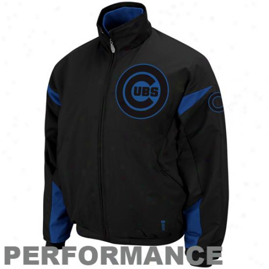Majestic Chicago Cubs Black Therma Base Triple Peak Premier Full Zip Jacket