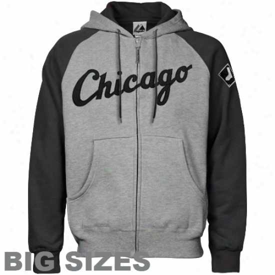 Majestic Chicago White Sox Ash-black Appliqu Big Sizes Full Zip Hoody Sweatshirt