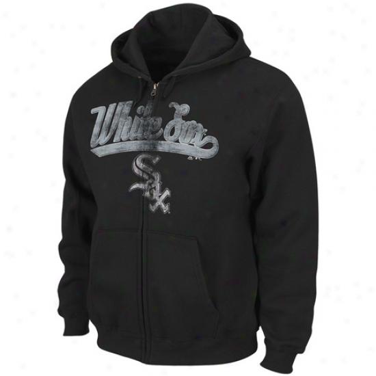 Splendid Chicago White Sox Black Big Club Full Zip Hoody Sweatshirt