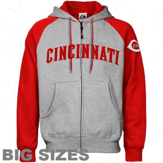 Majestic Cincinnati Reds Ash-red Applique Big Sizes Fulll Zip Hoody Sweatshirt
