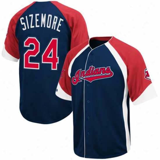 Majestic Cleveland Indians #24 Grady Sizemore Nav Blue-red Wheelhouse Cooperstown Player Baseball Jersey