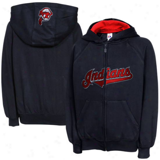 Majestic Cleveland Indians Preschool Ash Full Zip Hoodie Sweatshirt