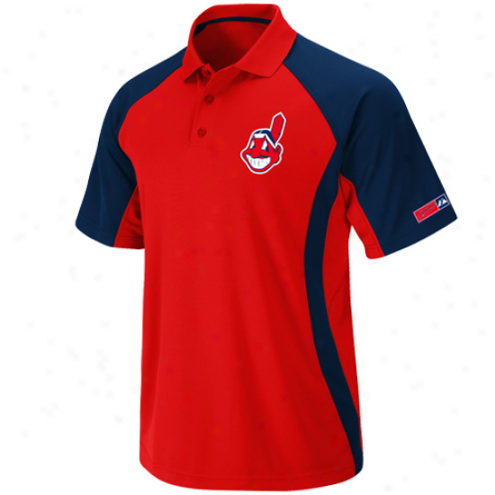 Majestic Cleveland Indians Red-navy Blue Firefist Synhetic Polo