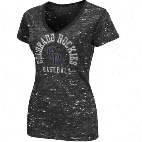 Majestic Colotado Rockies Ladies Play Call Premium V-neck T-shirt - Charcoal