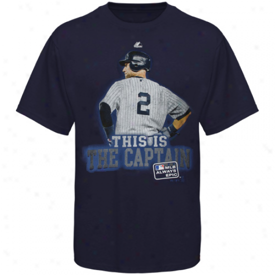 Majestic Derek Jeter New York Yankee #2 This Is The Captain T-shirt - Navy Blue