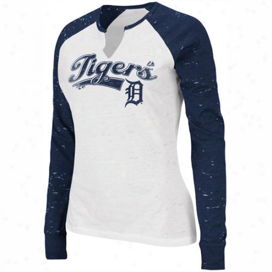 Majestiv Detroit Tigers Ladies League Special Log Sleeve T-shirt - White-navy Blue