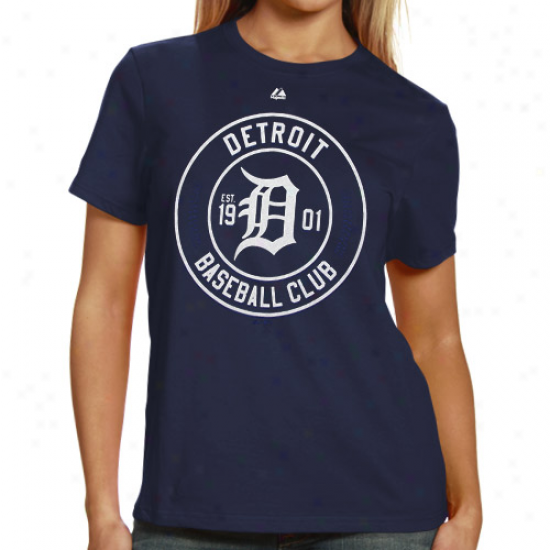 Majestic Detroit Tigers Ladies Pro Sports Baseball Club Long Sleeve T-shirt - Navy Blue