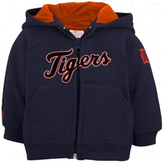 Majestic Detroit Tigers Toddler Navy Blue Full Zip Hoody Sweatshirt
