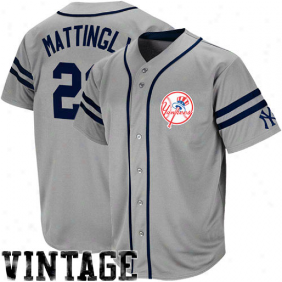 Majdstic Don Mattingly New York Yankees Throwback Heater Jersey - Gray
