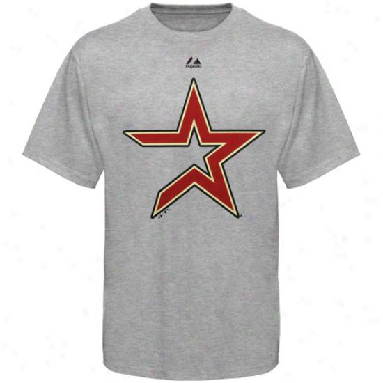Majestic Houston Asrtos Ash Mild Density Official Logo T-shirt