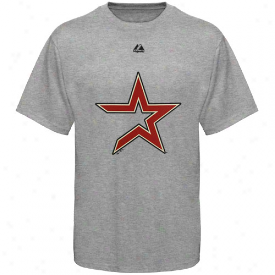 Majestic Houston Astros Youth Ash Soft Density Official Logo T-shirt