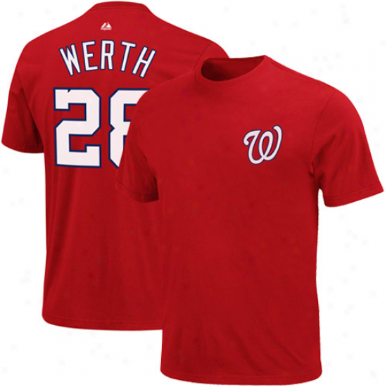 Majestic Jayson Werth Washington Nationals Youth Nqme & Number T-shirt - Red