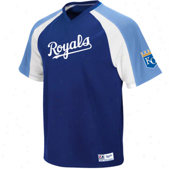 Majestic Kansas City Royals Crusader Pullover Jersey - Royal Livid