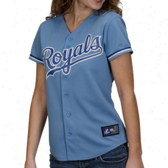 Majestic Kansas City Royals Ladies Light Blue Rwplica Jersey