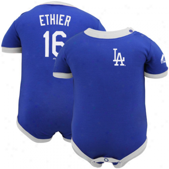 Majestic L.a. Dodgers #16 Andre Ethier Infant Royal Blue Name & Nymber Creeper