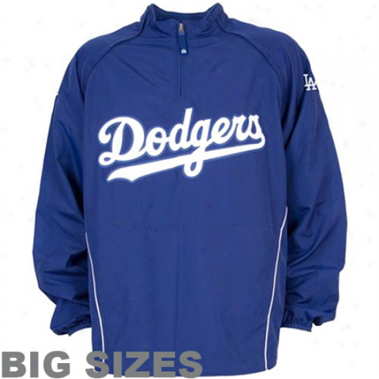 Majestic L.a. Dodgers Big Sizes Royal Blue Cool Plebeian Gamer Quarter-zip Composition Jacket