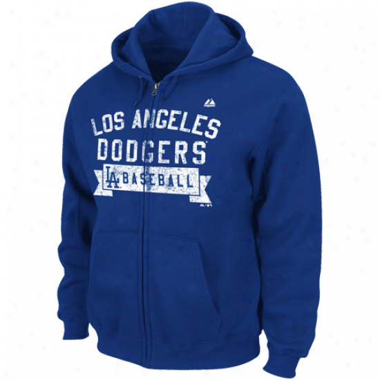 Majestic L.a. Dodgers Royal Blue Arch Classic Full Zip Hoodie Sweatshirt