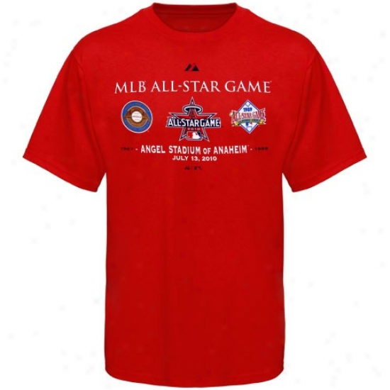 Majestic Los Angeles Angels Of Anaheim Red 2010 Mlb All-star Game History T-shirt
