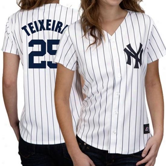 Majestic Mark Teixeira New York Yankees Women's Replica Jersey - White Pinstripe