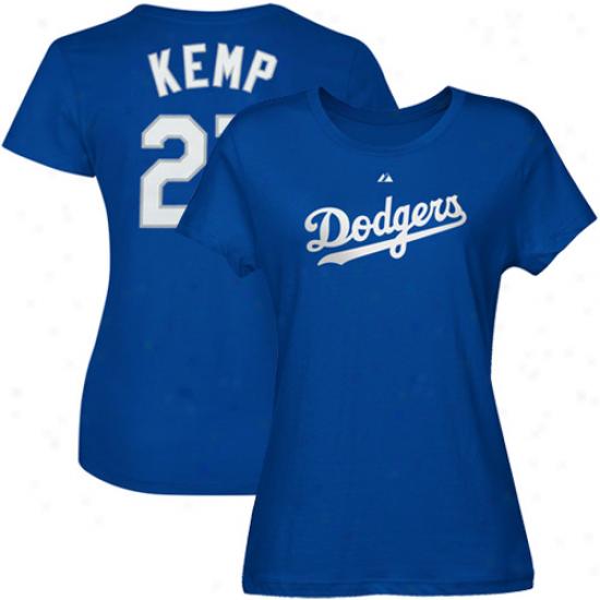 Majestic Matt Kemp L.a. Dodgers Ladies #27 Player T-shirt - Dodger Blue